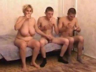 drunk older mamma with two boyz