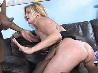 horny milf babe shags with black dude in front of