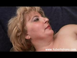 Chubby mature italian blonde granny gets some