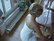 Very hot blonde milf made her husband cum on her