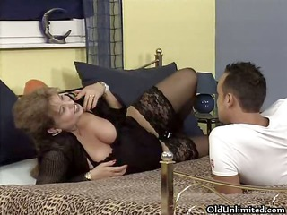 busty old woman receives lascivious getting her