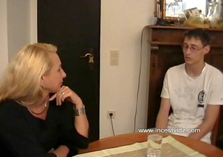 german blond mom and her son
