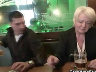 completely drunk granny takes two rods