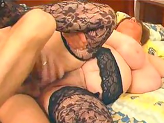 large breasty in lace stockings bonks big