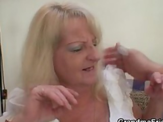 drunk blond granny in hot threesome fuckfest