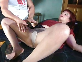 slutty mom with nylon tights stuffed below
