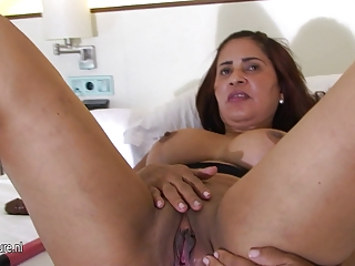 older arab mom playing with her moist cum-hole
