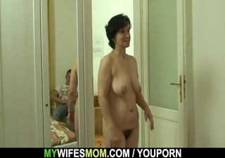 son-in-law drills her old hirsute twat