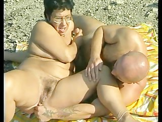 Granny gets banged at the beach
