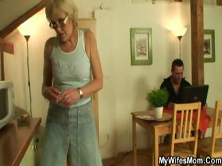 lewd blond granny sucks and fucks her son-in-law