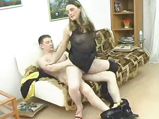 mature honey takes chubby youthful weenie into