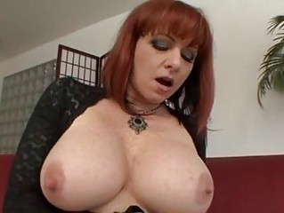 busty older redhead acquires hard boner up her