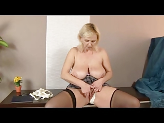 chubby blonde aged in nylons