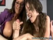 mom and daughter jacking off penis