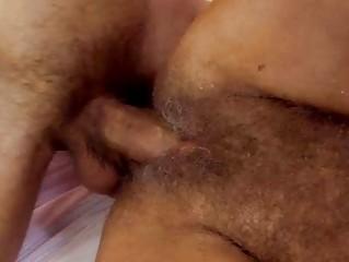 lusty granny receives her bushy pussy screwed hard