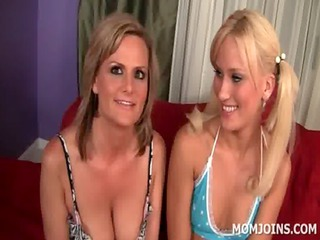 Mom and teen blondies show sexy tits and ass