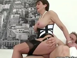 Cheating wife gets hot forbidden sex in pantyhose