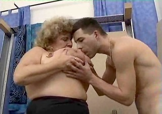 corpulent busty granny discover young rods and