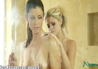 nuru massage aggressive milf's lesbian cum-hole