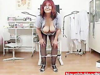 redhead giant boobies cougar widens her haired