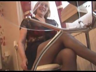 hirsute granny in hose striptease
